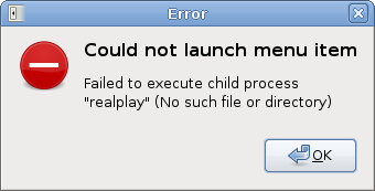 Error after running RealPlayer from the menu entry