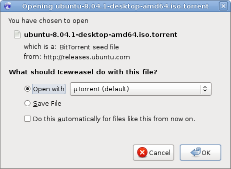 Iceweasel offers to open a torrent with uTorrent running under wine.